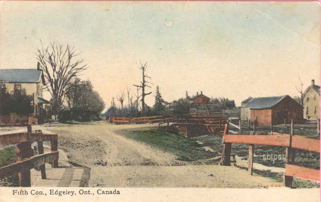 Postcard depicting the 5th Concession of Vaughan Township, looking South. The Edgeley Post Office can be seen on the left. The properties of Richard and Joseph Brown would be further down this road, today's Jane Street. Credit: Vaughan archives.