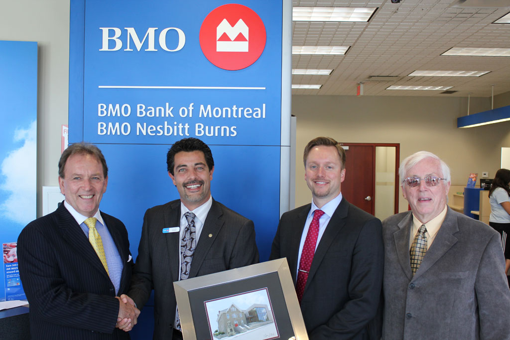 Bank of Montreal Donation presentation with Don Jackson, Shawn Namvar, Christopher Mahlberg and Gord West
