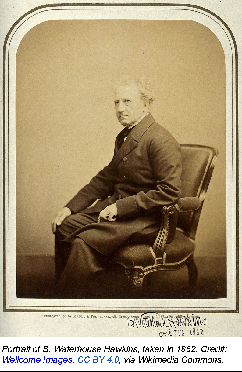 Portrait of B. Waterhouse Hawkins, taken in 1862. Credit: Wellcome Images. CC BY 4.0, via Wikimedia Commons.
