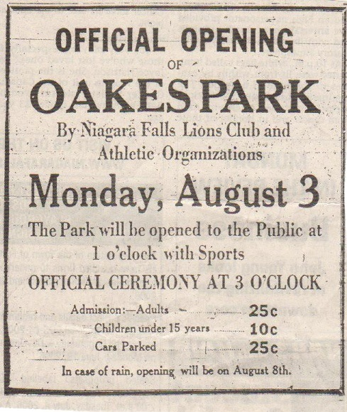 Newspaper clipping of the opening of Oakes Park from the Niagara Falls Review of July 31, 1931