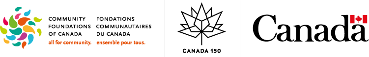 Canada 150 logo, Community Foundations of Canada logo and Government of Canada wordmark