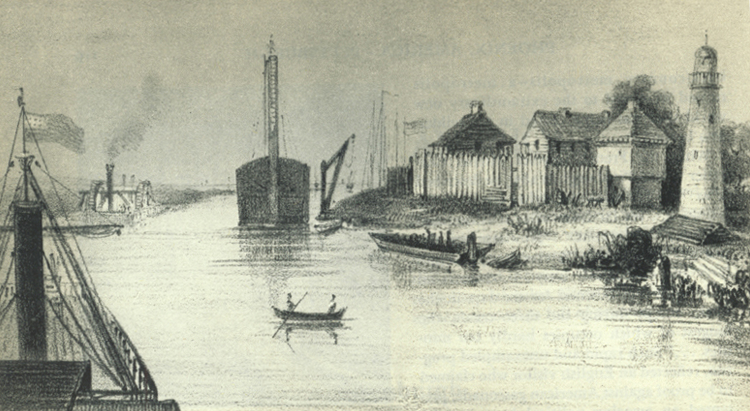 "Chicago's harbour, c.1838. Published in Castelnau, F. (1842). ""Vues et souvenirs de l'Ame´rique du Nord"", pg.222."