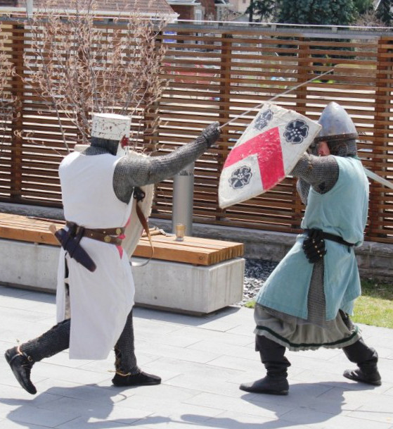 Two knights battling each other