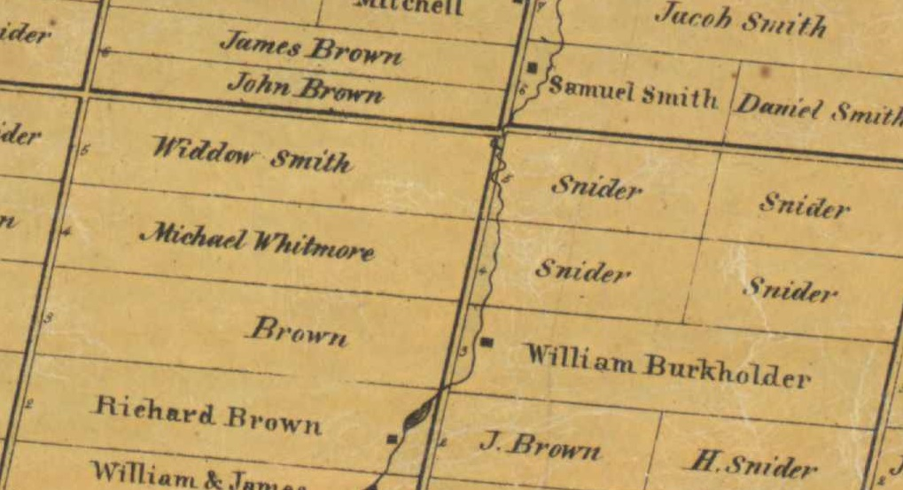 Map showing the land holdings of the Brown family in Edgeley (Any relation of John Brown to the family is unknown). Taken from Tremaine's Map of the County of York, Canada West (1860).