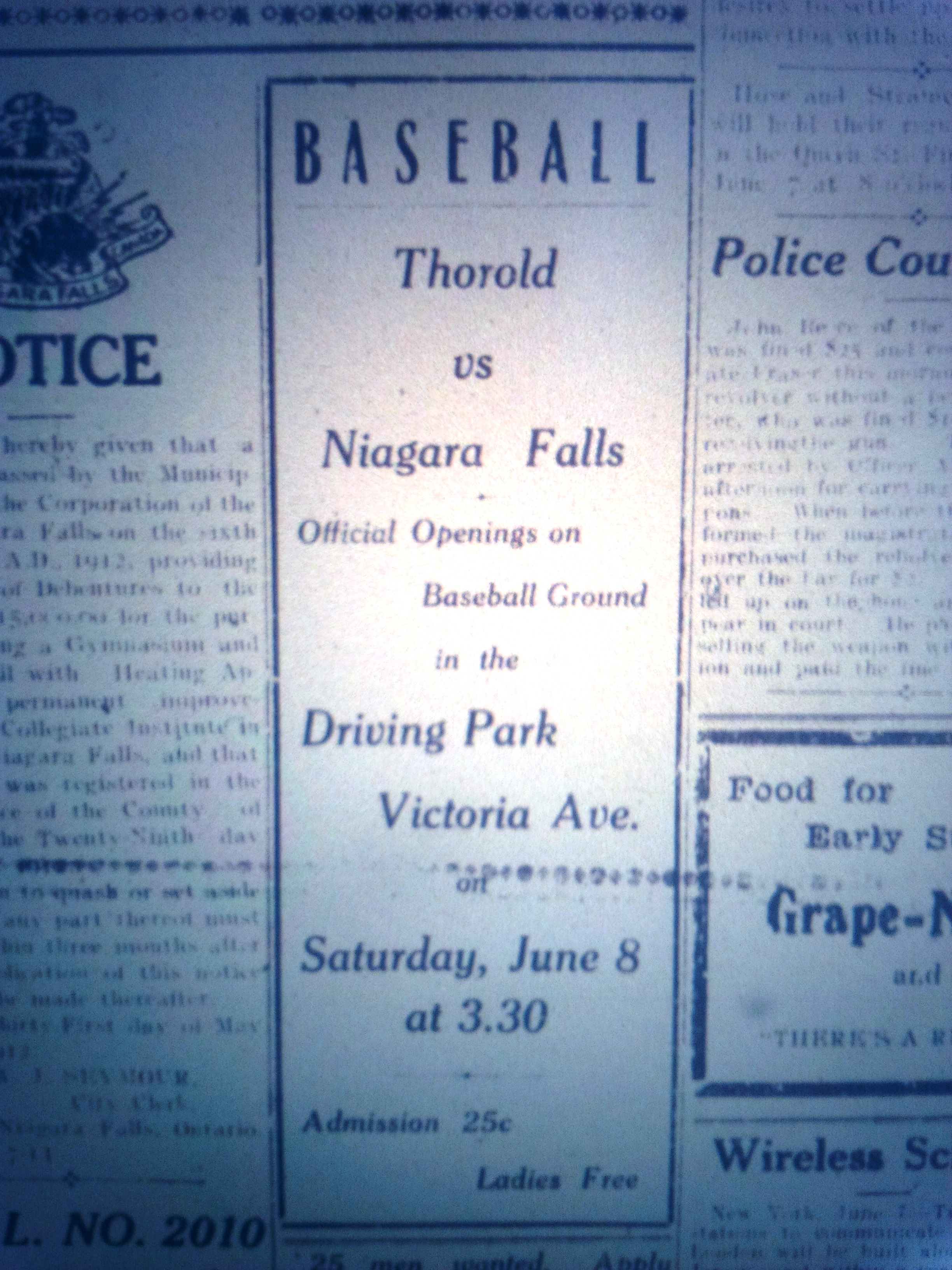 AD from the Daily Record of June 7 1912 showing a baseball game at Victoria Driving Park