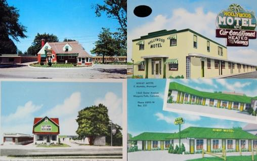Four postcards of Niagara Falls Motels
