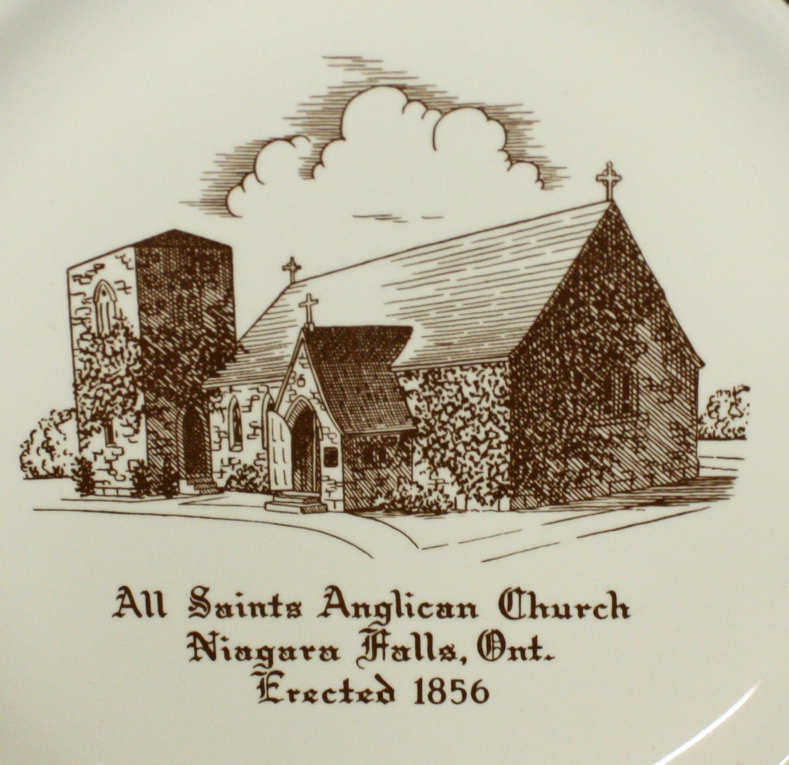 Centre of commemorative plate showing church building