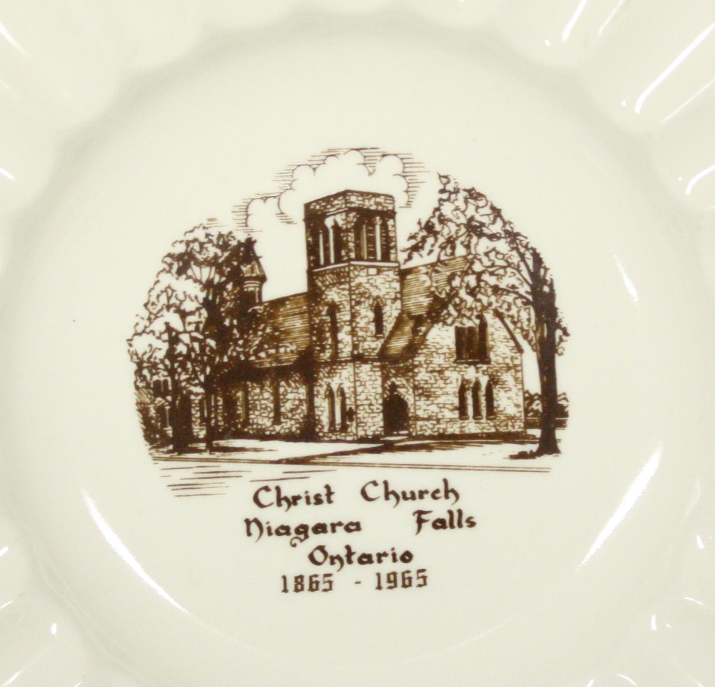 Centenary Commemorative Plate of Christ Church. Plate is made of white China and shows the church building with the dates, 1865-1965.