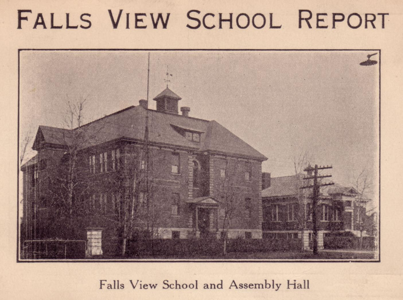 Falls View School building. Black and white image showing the building which stands on Dunn Street. Imposing structure with a hip-roof, made of brick with quoining along the corners. The appex of the roof has a bell. Post and lintel with piedement over front door and an iron fence with stone posts mark the schoolyard. The building at right is the assembly hall to the school house.