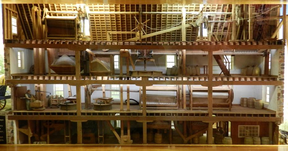 Photo of an Oliver Evans Mill system model at the  Hagley Mill Museum similar to that at Bridgewater mills (Dufferin Islands).  War Claim #523 of Street and Clark describes the mill as having 3 sets of stones that produced 100 barrels of flour per day, and a saw mill with 20 saws valued at £3000. Photo is courtesy of Robert Miller.