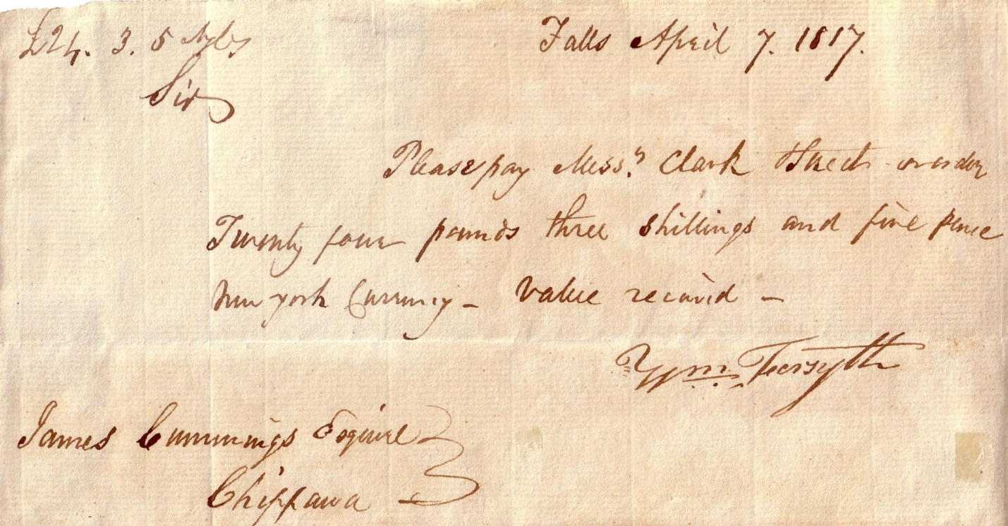 Promissory note dated Falls April 7, 1817 between William Forsyth and Mr Clark and Mr Street. Written on paper, it reads: