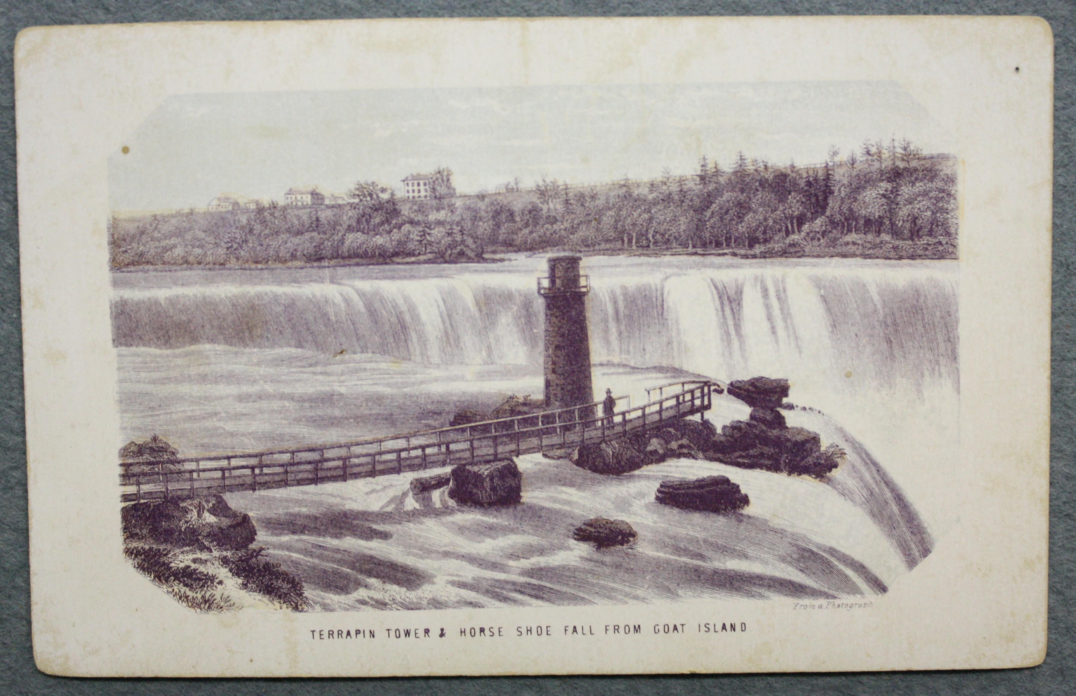 Terrapin Tower Horse Shoe Falls From Goat Island. Engraving of the Terrapin Tower and Bridge which allowed a close view from the US side of the Horseshoe Falls. A man stands next to the tower. The bridge starts at the left of the image and moves to the centre where the tower and man are. The tower has a walk-way around the top of it with a railing. On the oppposite shore are structures which are further South and  would include Loretto Academy or Canada House.