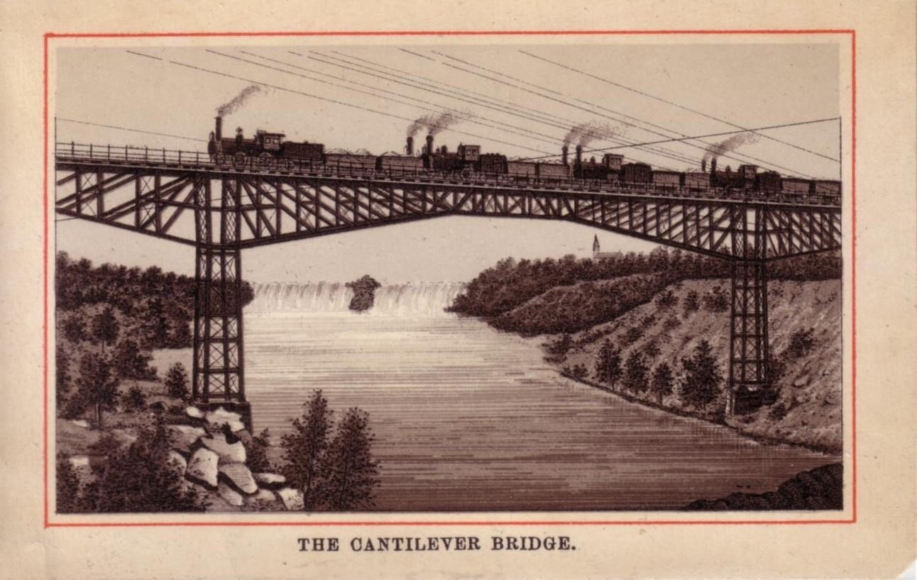 The Cantilever Bridge. Four trains travelling across a steel bridge, Niagara Falls in the background. The image is quite dark and low on details, there are two sets of footings on the shore of either side the Canadian side seems to be on the right of the image, based on the angle of slope. There are telephone or telegraph cables reaching from on side of the River to the other side. There is a red line as a border around the picture and the title