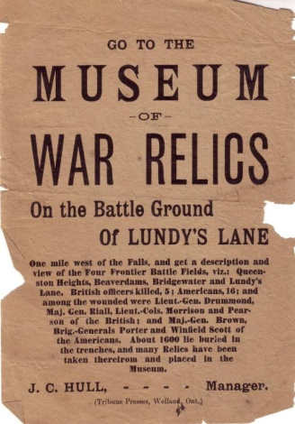 Handbill advertising a collection of Battlefield artefacts