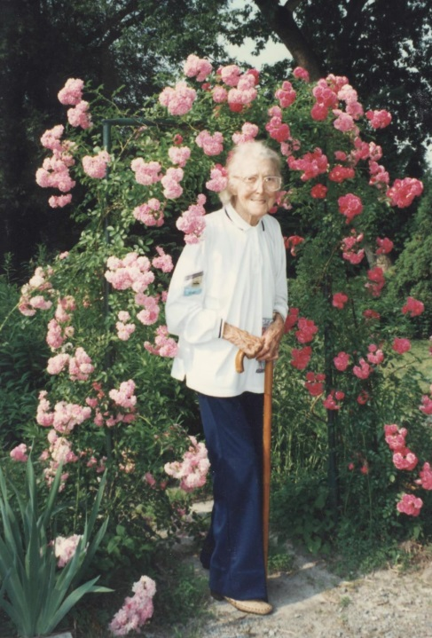 Ruth in her gardens, 1990's Image from Niagara Falls Museums